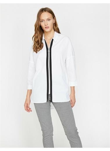 Koton Fermuar Detayli Gömlek Beyaz
